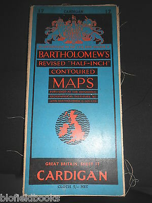 Vintage Bartholomew's Half Inch Map of Cardigan - 1951 (South Wales) Sheet 17