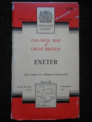 "VINTAGE ORDNANCE SURVEY 1"" MAP - Exeter (1960) Devon, Sidmouth, Exmouth, Honiton"