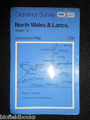 VINTAGE ORDNANCE SURVEY MAP - North Wales & Lancashire - 1973 - Quarter Inch