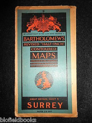 Vintage Map of Surrey - c1950s Bartholomew's Revised Half Inch Contoured Sheet 9