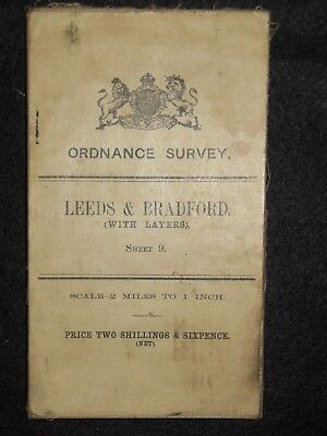 Vintage Ordnance Survey (O/S) Map of Leeds & Bradford - 1908 -  Sheet 9 - Layers