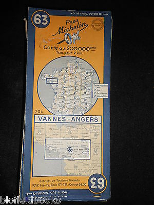 Vintage French Michelin Map of VANNES/ANGERS (Feuille 63/Carte de France) c1950