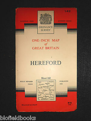 "VINTAGE ORDNANCE SURVEY 1"" MAP - Hereford - 1960 - Sheet 142 - Herefordshire"