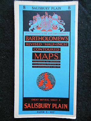 Vintage Ordnance Survey Folding Map of Salisbury Plain - c1950s -  Sheet 8