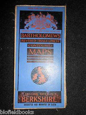 Vintage Bartholomew Half Inch Map; Berkshire - 1935 - Sheet 29, Dissected/Cloth