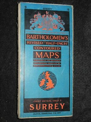 Vintage Bartholomew Half Inch Map of Surrey - 1953 - Sheet 9 - Home Counties UK