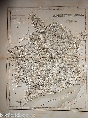Original Welsh Antiquarian Map of Monmouthshire c1850 (Wales) J Archer/Dugdale