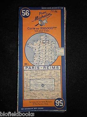 Vintage French Michelin Map of PARIS/REIMS (Feuille 56/Carte de France) c1945
