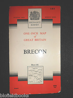 "VINTAGE ORDNANCE SURVEY 1"" MAP - Brecon - 1967 - Sheet 141 - Powys/Mid Wales"