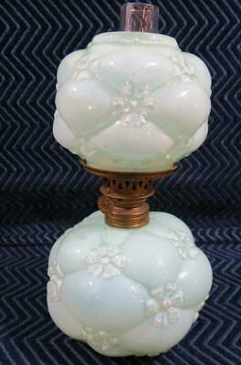 "Antique 19th Century Light Blue Glass Lamp - 7"" Tall"