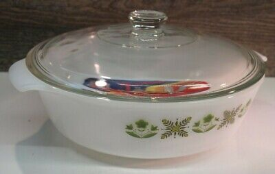 Vintage Anchor Hocking Fire King 438 2 Qt. Meadow Green Casserole Dish W/ Lid