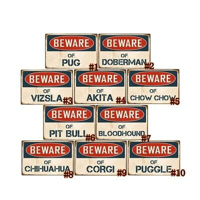 Beware Of Attack Pug Rustic Sign SignMission Classic Rust Wall Plaque Decoration