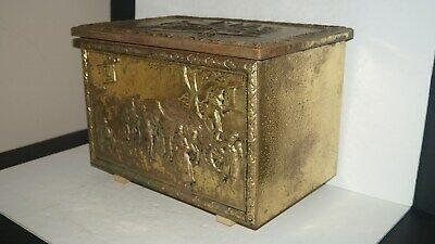 """VINTAGE HOME DECOR EMBOSSED ALL METAL STORAGE TRUNK CHEST - 12.7"""" T x 18"""" W"""