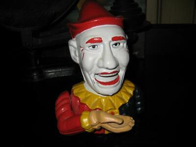 Vintage Style Cast Iron Clown Jester Mechanical Coin Bank ~ Reproduction