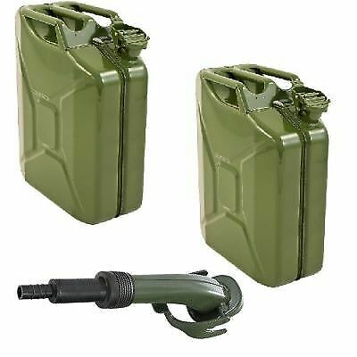 2 x Green 20 Litre Metal Jerry Cans For Fuel / Petrol / Diesel / Gas And Spout