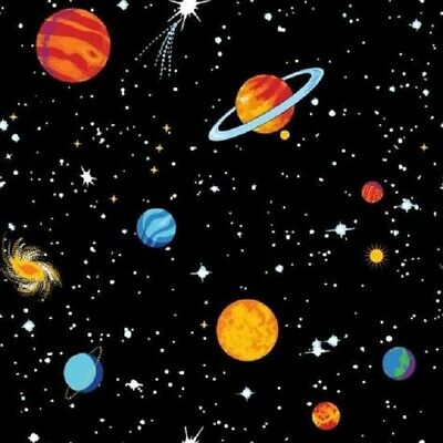 100/% Cotton Fabric Nutex Bright Planets Bunched Solar System Space