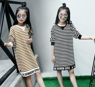 Kids Girl Clothes Sister Dress Outfit Set Spring striped cotton long T-shirt