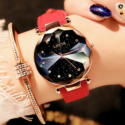 Starry Sky Watch Leather Strap Free Buckle Stainless Steel Women Gift UK SELLER