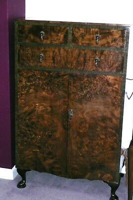 Vintage Burr Waltnut Tallboy Chest of Drawers