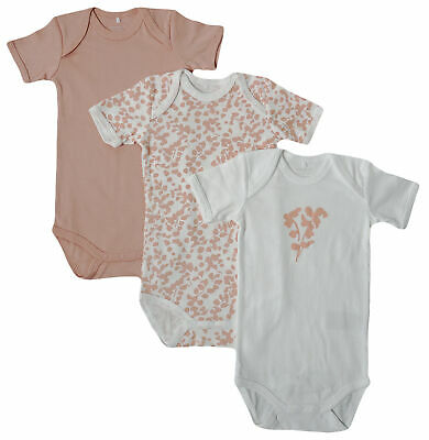 3er SET BODY Name It Baby Kinder Mädchen kurzarm Bodys Einteiler rose