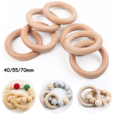 Natural Wooden Baby Teether Ring Teething Rings Wood Craft Round DIY Chewing Toy