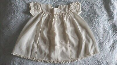 Vintage Mid Century Baby Bairnswear  Ivory Nylon Silk Short Christening Dress