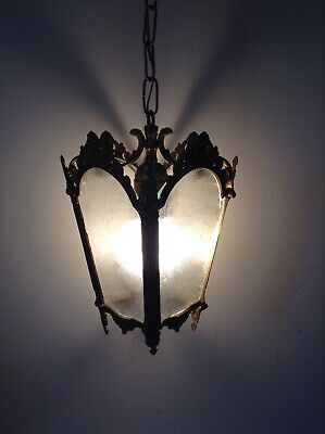 Vintage French Ornate Bronze / Brass Lantern Style Ceiling Light (3166)