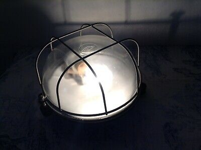 VINTAGE FRENCH INDUSTRIAL ROUND BAKELITE BULKHEAD LIGHT FITMENT by BLOC (2041)