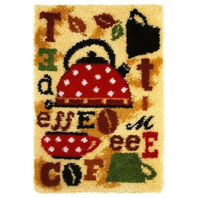 Tea & Coffee Latch Hook Kit Rug Making Kit By Orchidea, 50x74.5cm Printed canvas