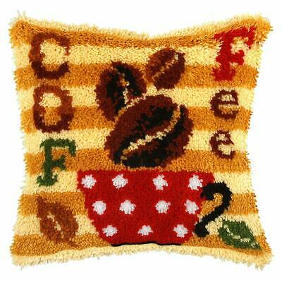 Coffee Bean & Cup Latch Hook Cushion Front Kit. Orchidea, 40x40cm Printed canvas
