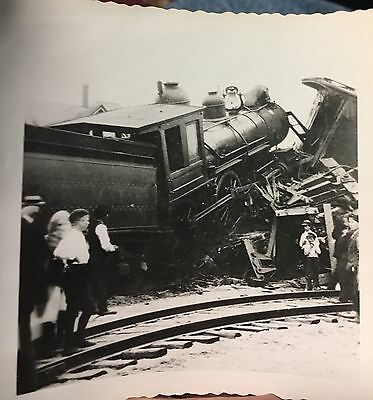 "Railroad Accident-Train Wreck- Early - 3.5"" X 3.5"" Real Photo"