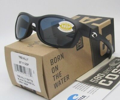 74491640a0 COSTA DEL MAR matte black gray TREVALLY POLARIZED 580P sunglasses! NEW IN  BOX!
