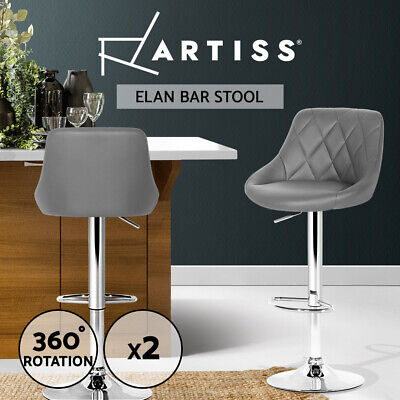 Artiss 2 x Kitchen Bar Stools Swivel Bar Stool Leather Gas Lift Chairs Grey
