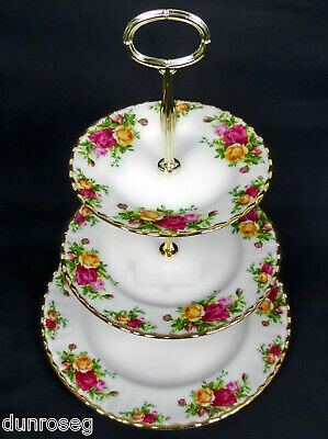 Old Country Roses 3-Tier Cake Stand, Gc, New Centre Pole, Royal Albert