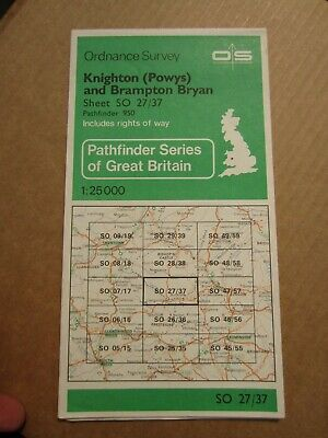 OS map Pathfinder 950 Knighton POWYS Brampton Bryan SO 27/37 1:25 000 4cm - 1 km