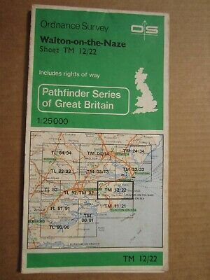 OS map Pathfinder Walton on the Naze TM 12/22 Essex  1:25 000 4cm - 1 km
