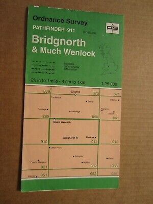 OS map Pathfinder 911 Bridgnorth Much Wenlock (SO 69/79)  1:25 000 4cm - 1 km