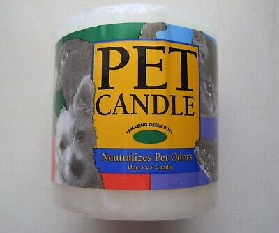 NEW Pet Odor Candle Neutralizer Amazing Green Dot Pillar USA Dog Cat Bird Smell
