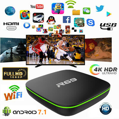 R69 Smart 4K UHD TV Box Quad Core 2.4GHz WiFi Android7.1 3D HDMI Media Streamers