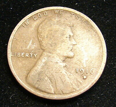 Lincoln Wheat Cent---------1916-D----Filled Mint Mark