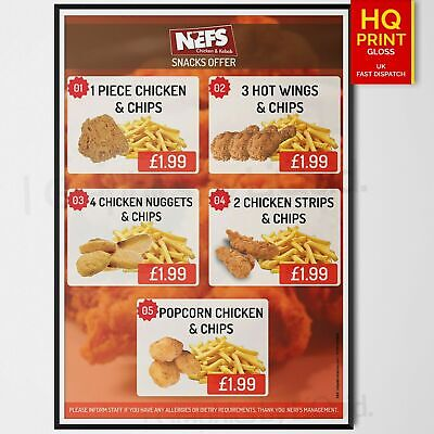 Fast Food Chips/Chicken Restaurant Takeaway TABLE Menu Poster *LAMINATION* A3 A4