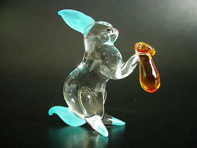 Curio Glass BUNNY RABBIT HARE Turquoise Clear Glass Ornament Glass Animal Gift