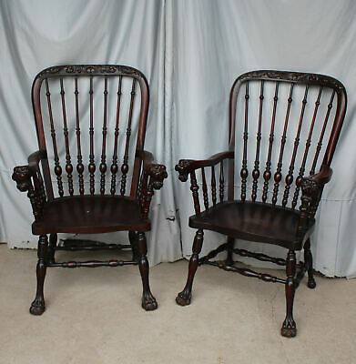 Antique Pair of tall back Mahogany Arm Chairs – Stickley & Brandt Company