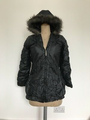 Black Coat Puffa Scrunchy Look Zip With Hood Age 10 - 12 Yrs