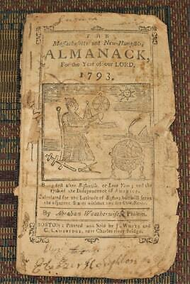 XRARE: 1793 Almanack for MA NH RI & VT by Abraham Weatherwise