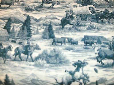 1 FQ Cowboy Quilt Fabric Rawhide Scenic Toile Allover Blue Cowboys Mountains