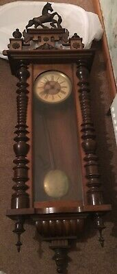 Old Large  Wooden Cased Vienna Type Wall Clock With Horse Top Not Working