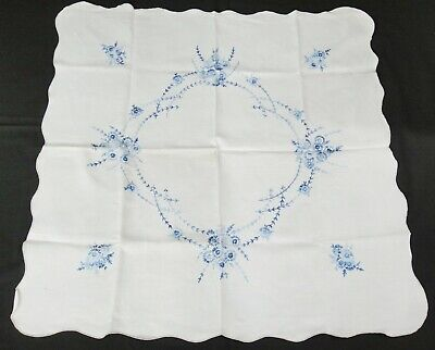 "Embroidered Tablecloth Handcrafted 38"" Square Linen Blue Flowers Yellowed Vtg"