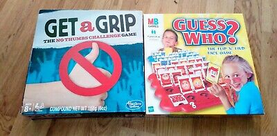 2 Kids Games Guess Who & Get A Grip No Thumbs Challenge Game Complete Xmas Fun
