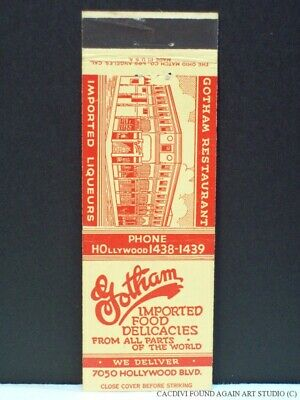 Matchbook Cover Gotham Restaurant Hollywood Blvd California Delicatessen CA Vtg